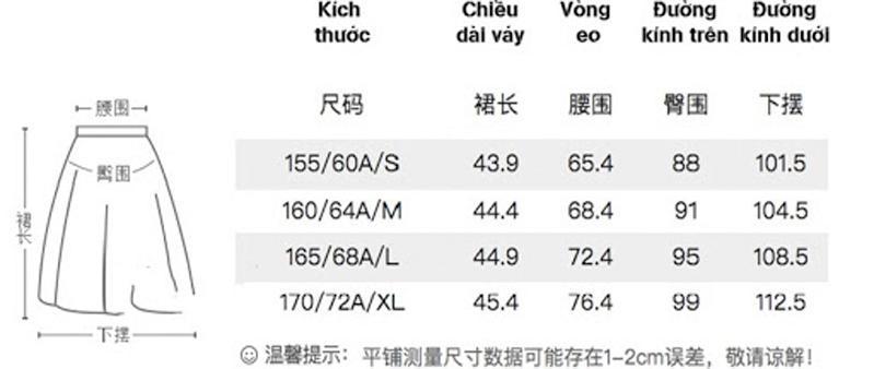 Bảng dịch size chuẩn cho các sản phẩm váy ngắn Trung Quốc